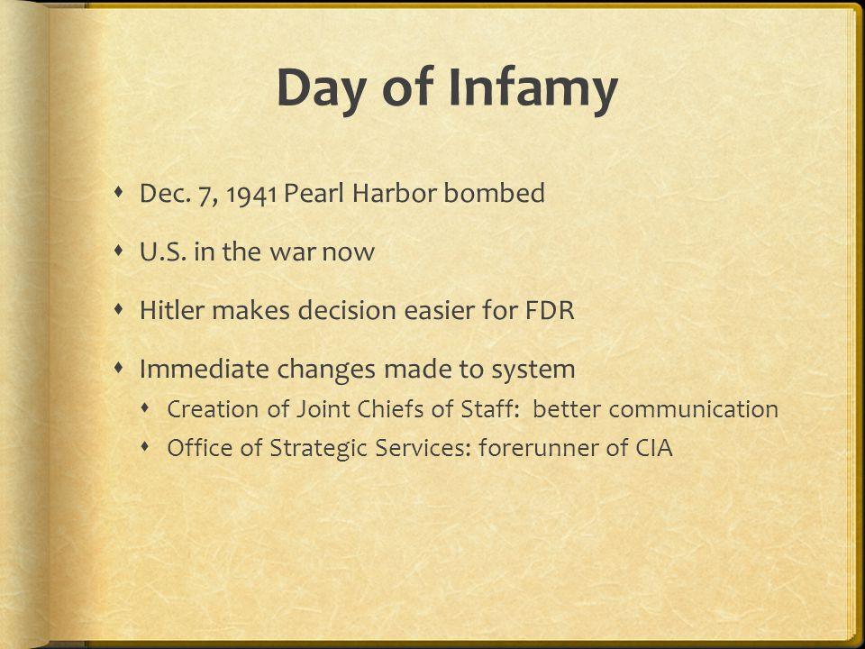 Day of Infamy  Dec. 7, 1941 Pearl Harbor bombed  U.S.