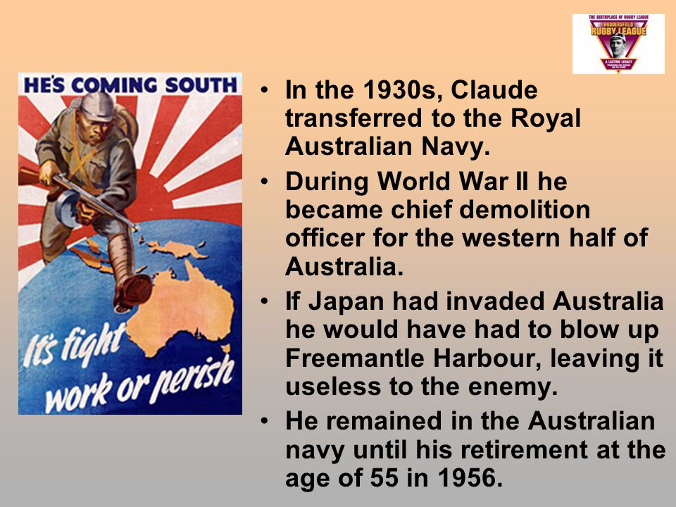 In the 1930s, Claude transferred to the Royal Australian Navy.