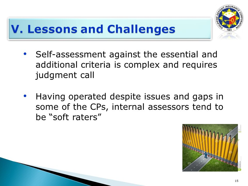 Self-assessment against the essential and additional criteria is complex and requires judgment call Having operated despite issues and gaps in some of the CPs, internal assessors tend to be soft raters 15