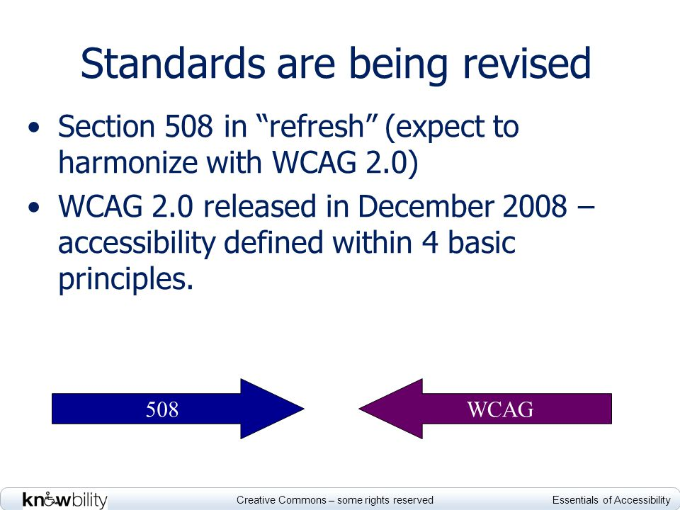 Creative Commons – some rights reserved Essentials of Accessibility Standards are being revised Section 508 in refresh (expect to harmonize with WCAG 2.0) WCAG 2.0 released in December 2008 – accessibility defined within 4 basic principles.