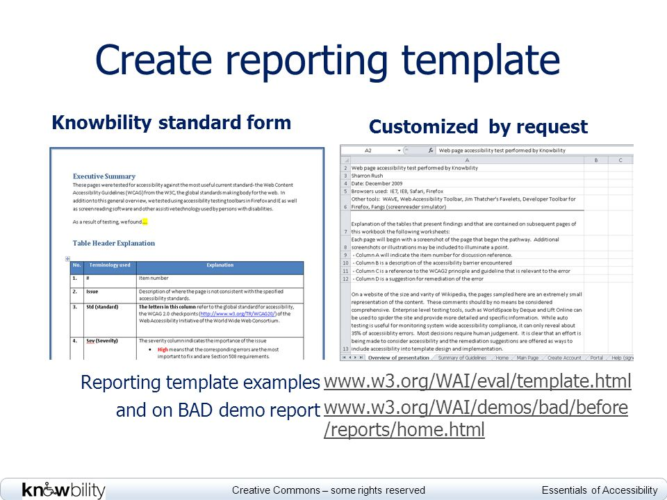 Creative Commons – some rights reserved Essentials of Accessibility Create reporting template Knowbility standard form Reporting template examples and on BAD demo report Customized by request www.w3.org/WAI/eval/template.html www.w3.org/WAI/demos/bad/before /reports/home.html