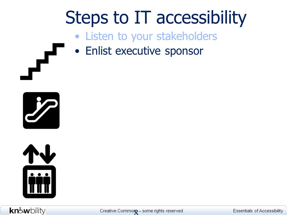 Creative Commons – some rights reserved Essentials of Accessibility Steps to IT accessibility Listen to your stakeholders Enlist executive sponsor Whe