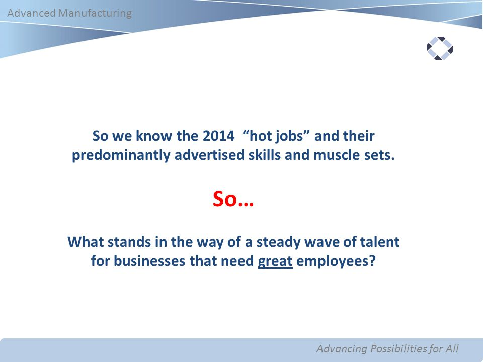 Advancing Possibilities for All Advanced Manufacturing Advancing Possibilities for All Advanced Manufacturing So we know the 2014 hot jobs and their predominantly advertised skills and muscle sets.