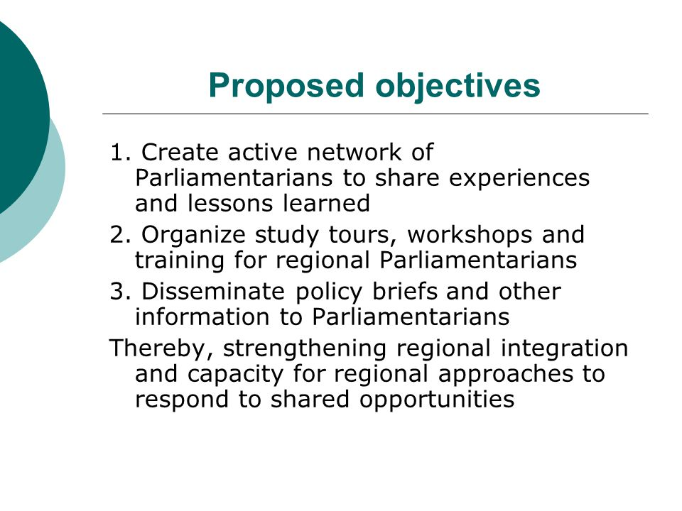 Proposed objectives 1.