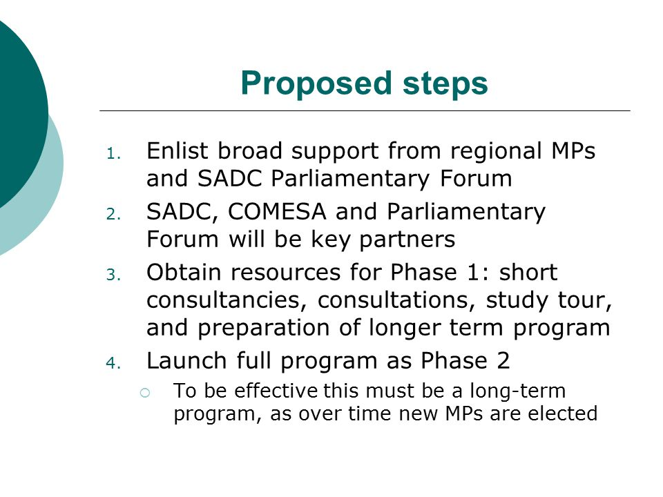 Proposed steps 1. Enlist broad support from regional MPs and SADC Parliamentary Forum 2.