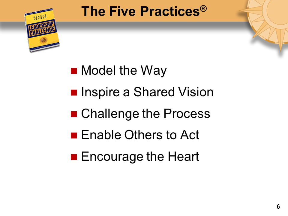 The Five Practices ® Model the Way Inspire a Shared Vision Challenge the Process Enable Others to Act Encourage the Heart 6
