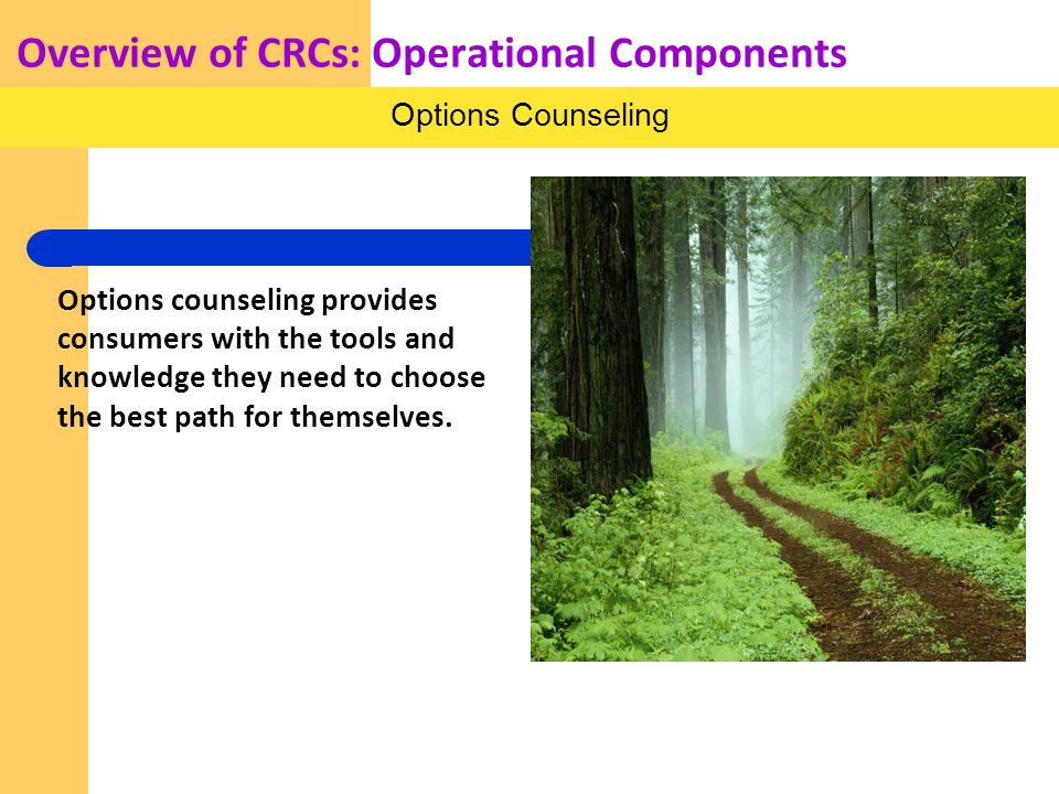 Overview of CRCs: Operational Components Options counseling provides consumers with the tools and knowledge they need to choose the best path for themselves.