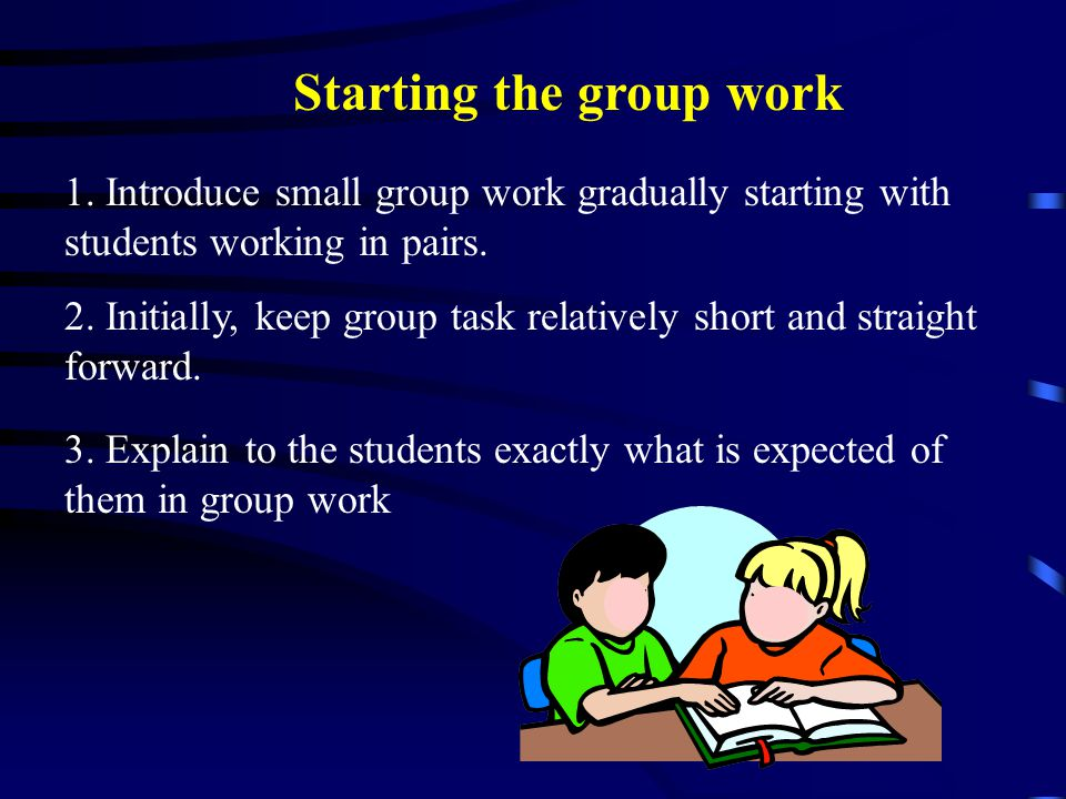 Starting the group work 1.