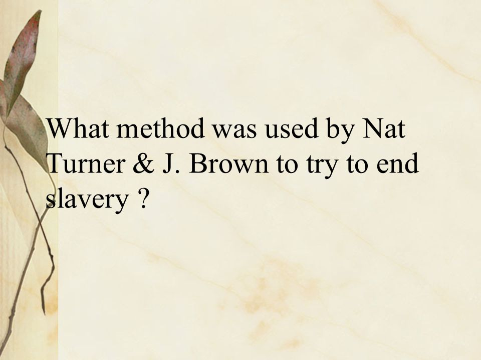 What method was used by Nat Turner & J. Brown to try to end slavery ?