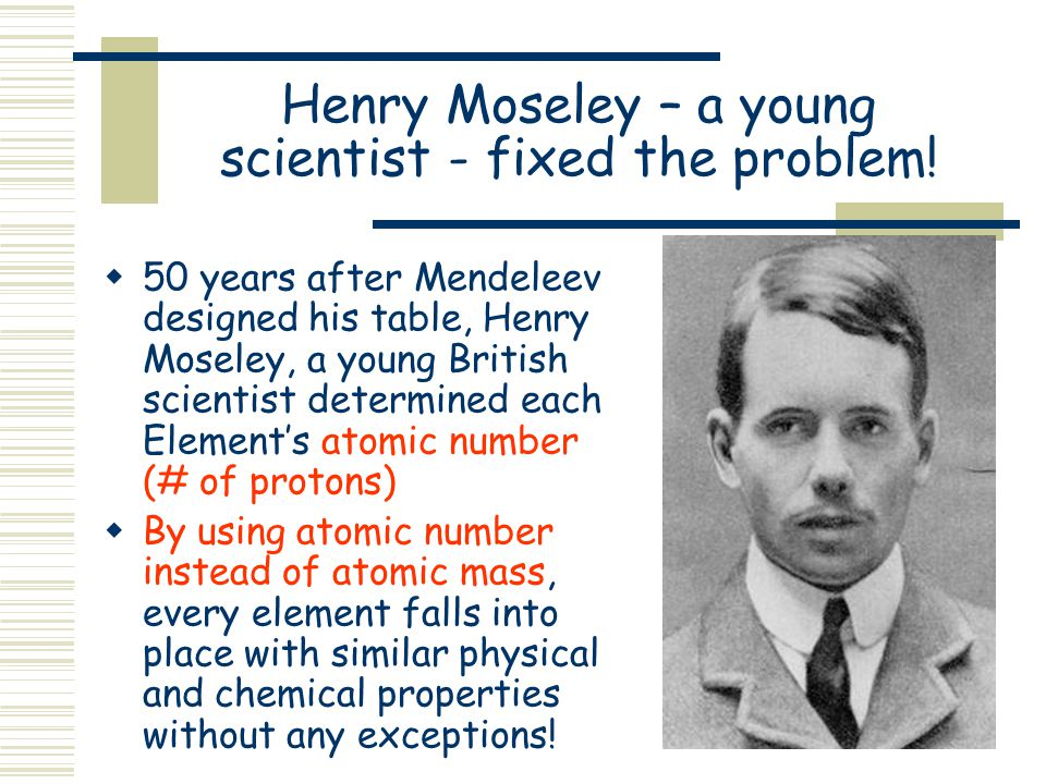 Unfortunately, Medeleev's work was not 100% accurate….  Remember, Mendeleev used atomic mass to arrange his periodic table…  As you know now, the mo
