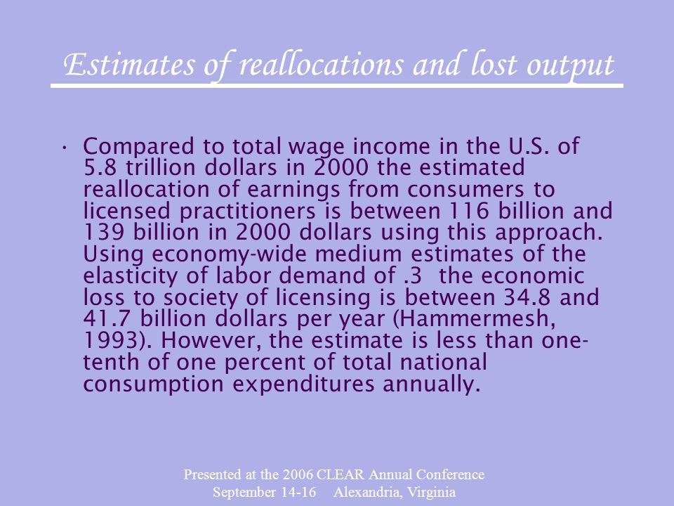 Presented at the 2006 CLEAR Annual Conference September 14-16 Alexandria, Virginia Estimates of reallocations and lost output Compared to total wage income in the U.S.