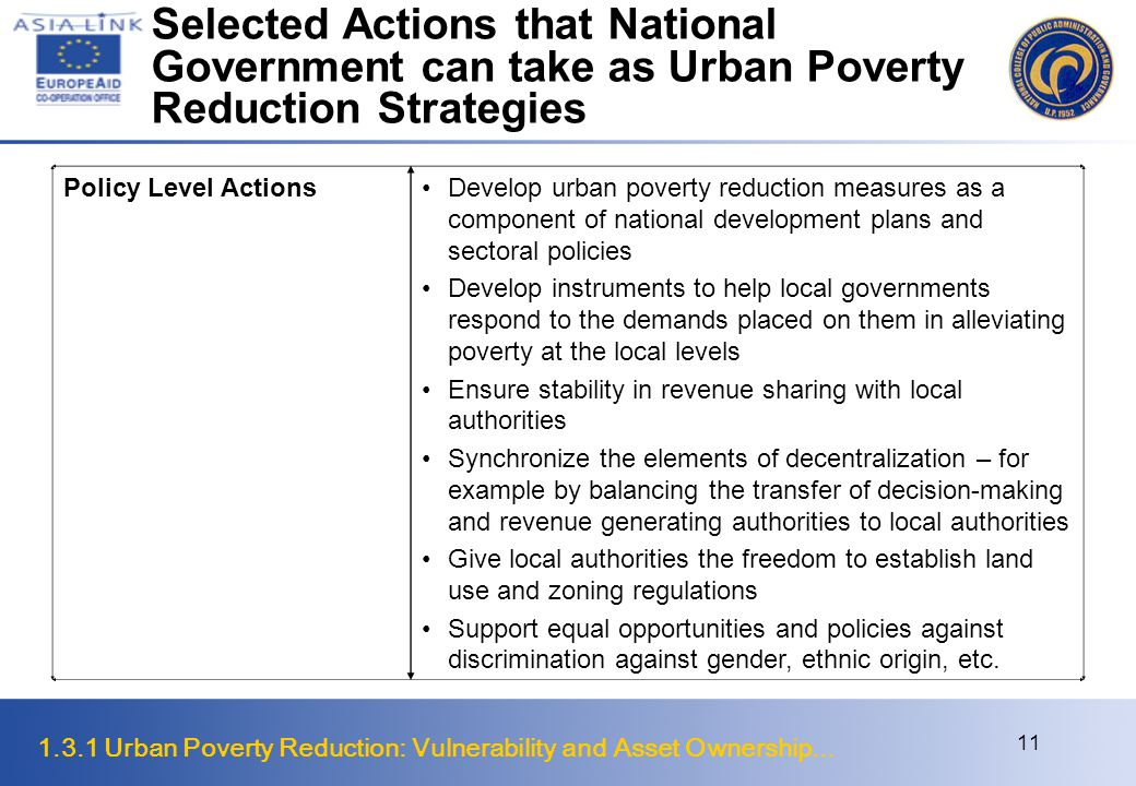1.3.1 Urban Poverty Reduction: Vulnerability and Asset Ownership... 11 Selected Actions that National Government can take as Urban Poverty Reduction S