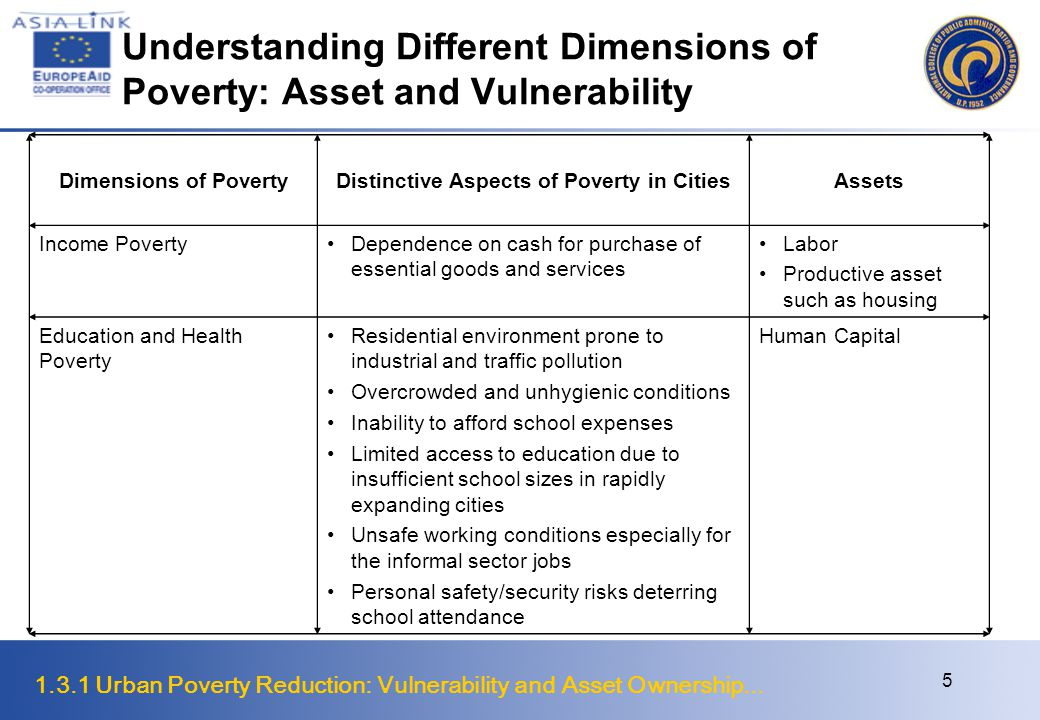 1.3.1 Urban Poverty Reduction: Vulnerability and Asset Ownership... 5 Understanding Different Dimensions of Poverty: Asset and Vulnerability Dimension