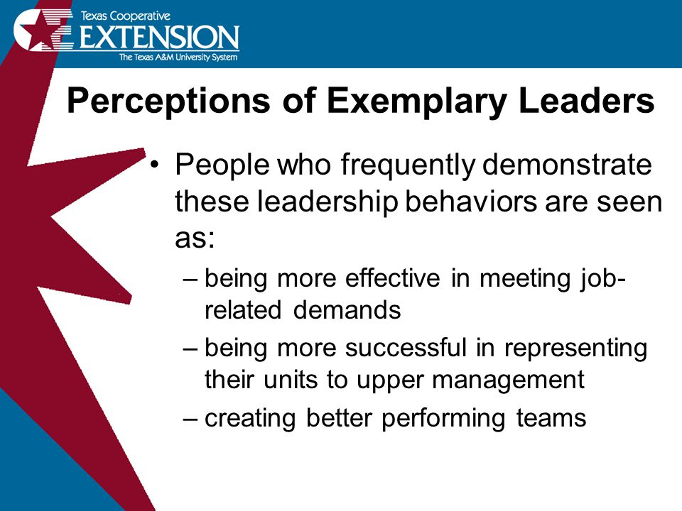 People who frequently demonstrate these leadership behaviors are seen as: –being more effective in meeting job- related demands –being more successful in representing their units to upper management –creating better performing teams Perceptions of Exemplary Leaders