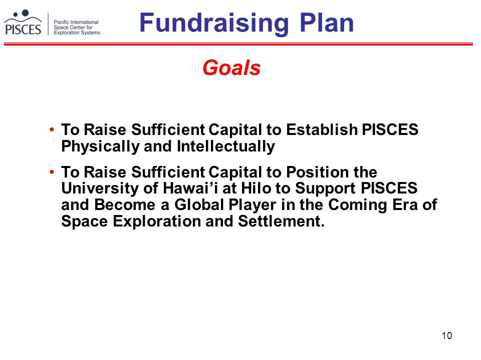 10 Fundraising Plan To Raise Sufficient Capital to Establish PISCES Physically and Intellectually To Raise Sufficient Capital to Position the University of Hawai'i at Hilo to Support PISCES and Become a Global Player in the Coming Era of Space Exploration and Settlement.