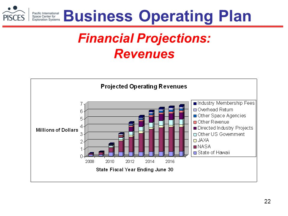22 Financial Projections: Revenues Business Operating Plan