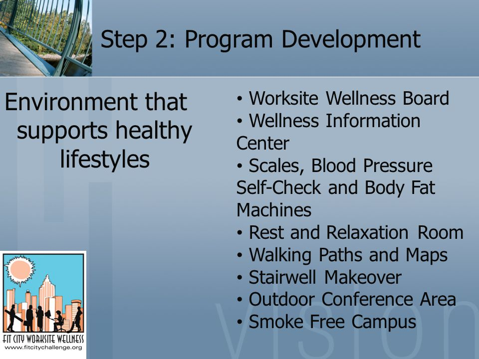 Step 2: Program Development Environment that supports healthy lifestyles Worksite Wellness Board Wellness Information Center Scales, Blood Pressure Self-Check and Body Fat Machines Rest and Relaxation Room Walking Paths and Maps Stairwell Makeover Outdoor Conference Area Smoke Free Campus