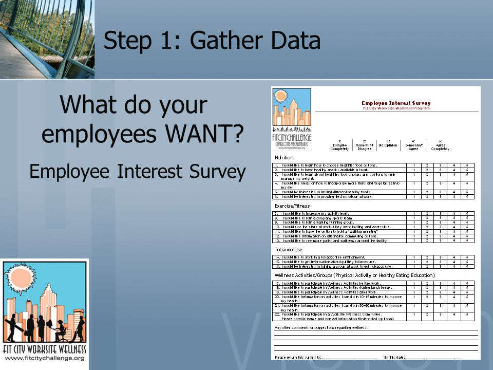 Step 1: Gather Data What do your employees WANT? Employee Interest Survey