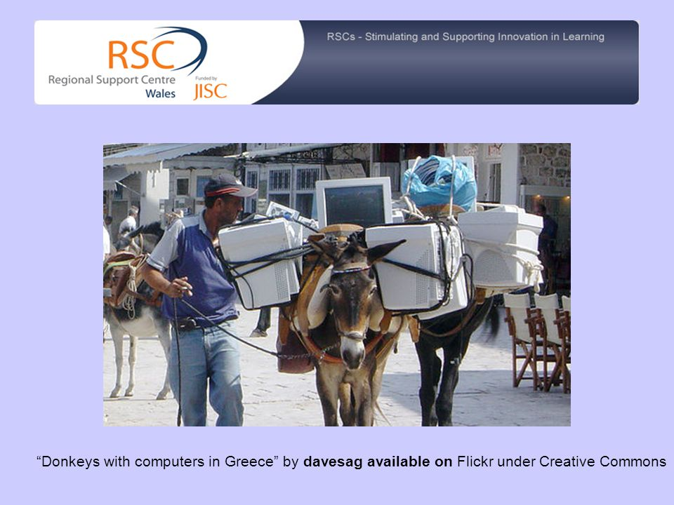 Donkeys with computers in Greece by davesag available on Flickr under Creative Commons