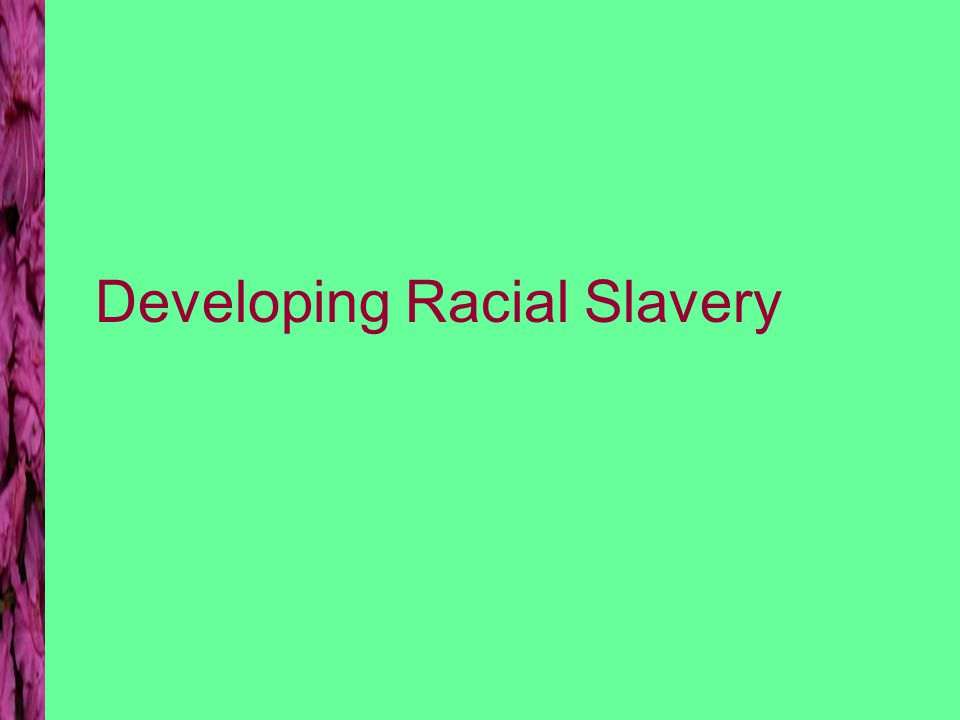 Developing Racial Slavery