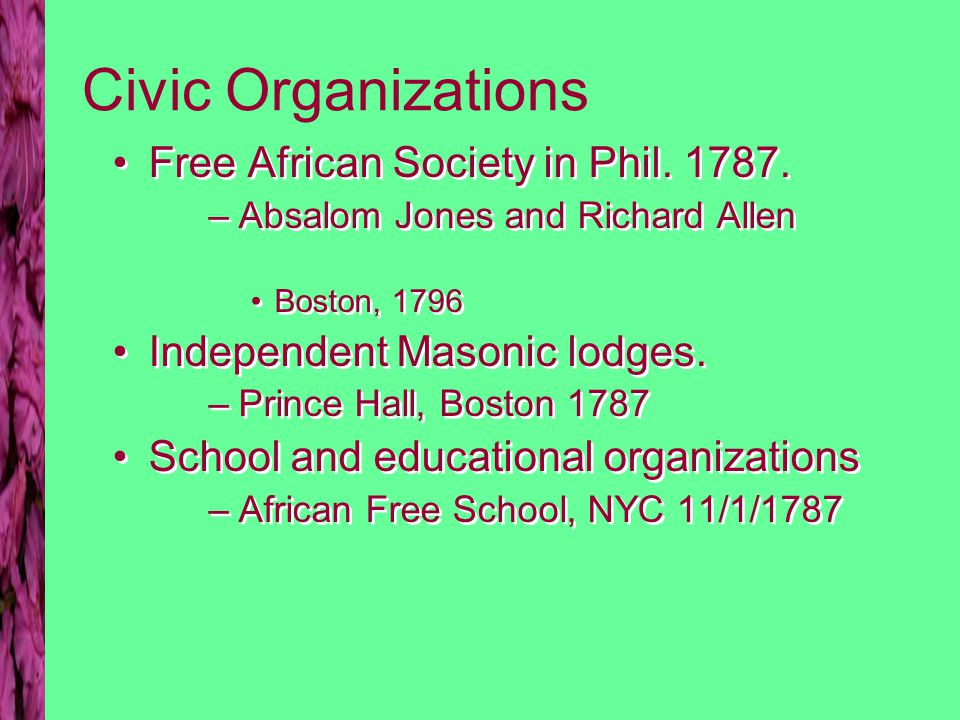 Civic Organizations Free African Society in Phil. 1787.