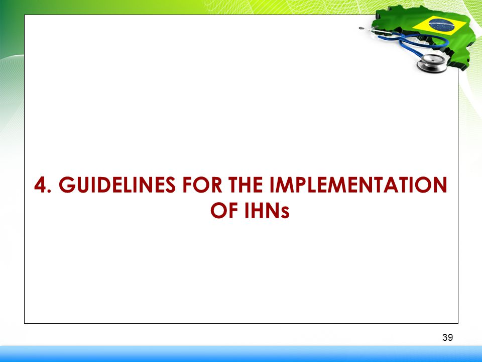 4. GUIDELINES FOR THE IMPLEMENTATION OF IHNs 39