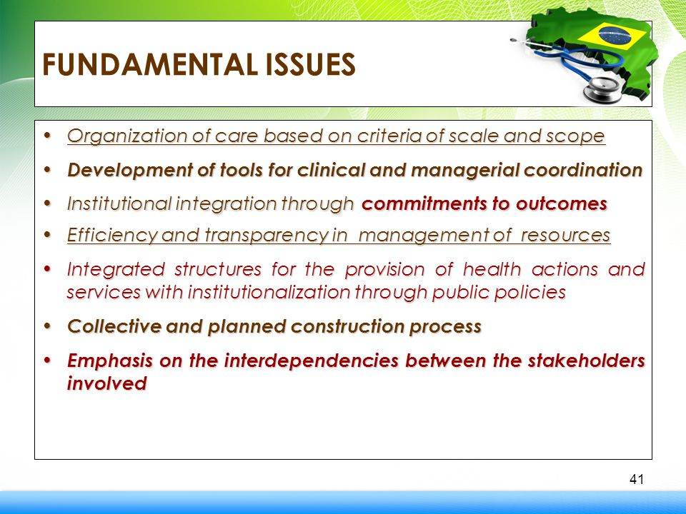 FUNDAMENTAL ISSUES Organization of care based on criteria of scale and scopeOrganization of care based on criteria of scale and scope Development of tools for clinical and managerial coordination Development of tools for clinical and managerial coordination Institutional integration through commitments to outcomesInstitutional integration through commitments to outcomes Efficiency and transparency in management of resourcesEfficiency and transparency in management of resources Integrated structures for the provision of health actions and services with institutionalization through public policiesIntegrated structures for the provision of health actions and services with institutionalization through public policies Collective and planned construction process Collective and planned construction process Emphasis on the interdependencies between the stakeholders involved Emphasis on the interdependencies between the stakeholders involved 41