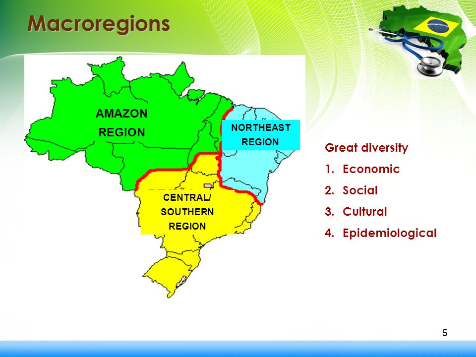 5 Macroregions Great diversity 1.Economic 2.Social 3.Cultural 4.Epidemiological AMAZON REGION CENTRAL/ SOUTHERN REGION NORTHEAST REGION