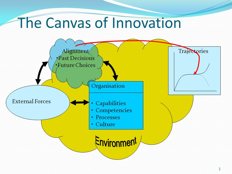 3 The Canvas of Innovation Organisation Capabilities Competencies Processes Culture External Forces TrajectoriesAlignment Past Decisions Future Choices