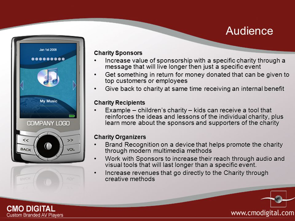 Charity Sponsors Increase value of sponsorship with a specific charity through a message that will live longer then just a specific event Get somethin