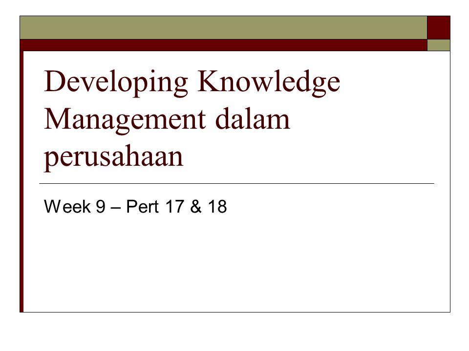 Developing Knowledge Management dalam perusahaan Week 9 – Pert 17 & 18