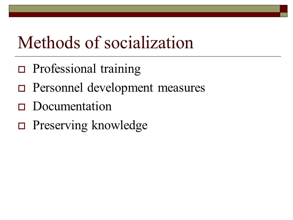 Methods of socialization  Professional training  Personnel development measures  Documentation  Preserving knowledge