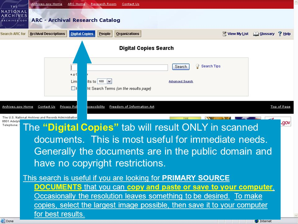 The Digital Copies tab will result ONLY in scanned documents.