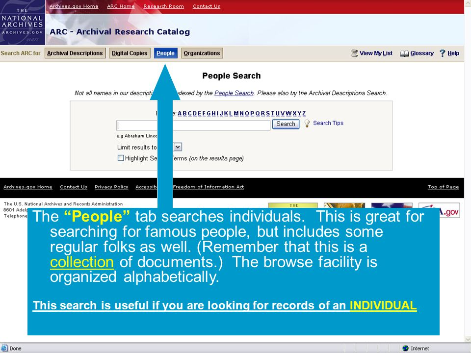The People tab searches individuals.