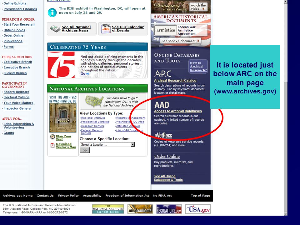 It is located just below ARC on the main page (www.archives.gov)