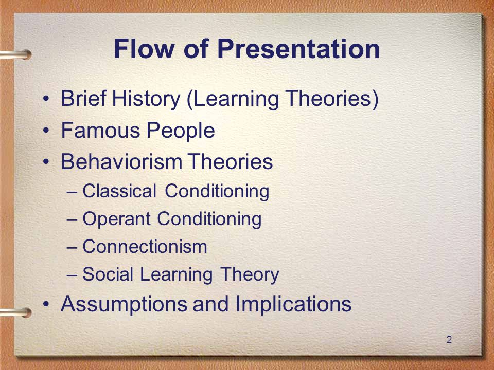 43 Behaviorism Assumptions Assumption Educational Implications Focus on observable events