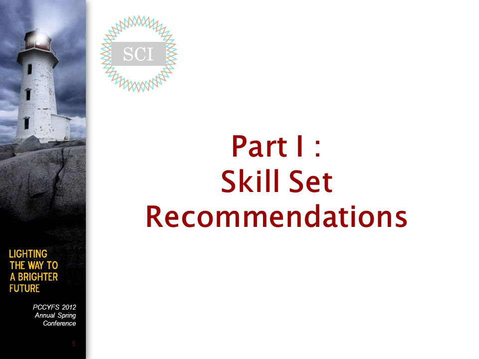 PCCYFS 2012 Annual Spring Conference 5 Part I : Skill Set Recommendations