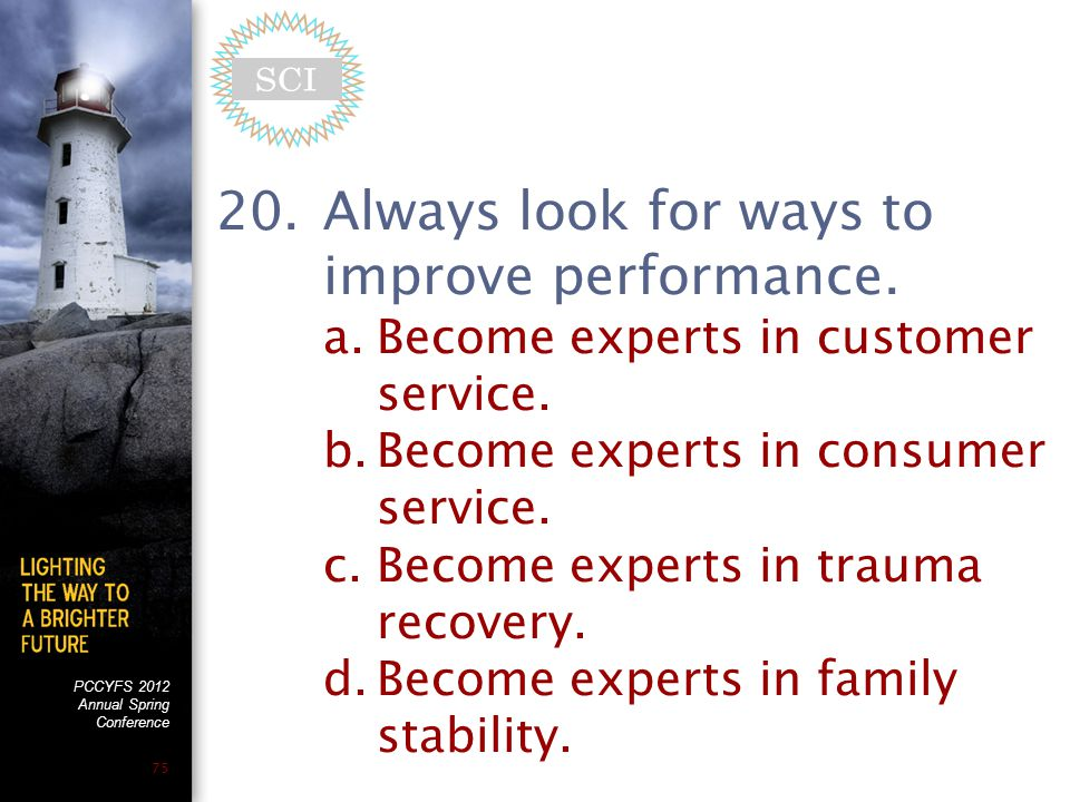 PCCYFS 2012 Annual Spring Conference 75 20.Always look for ways to improve performance.