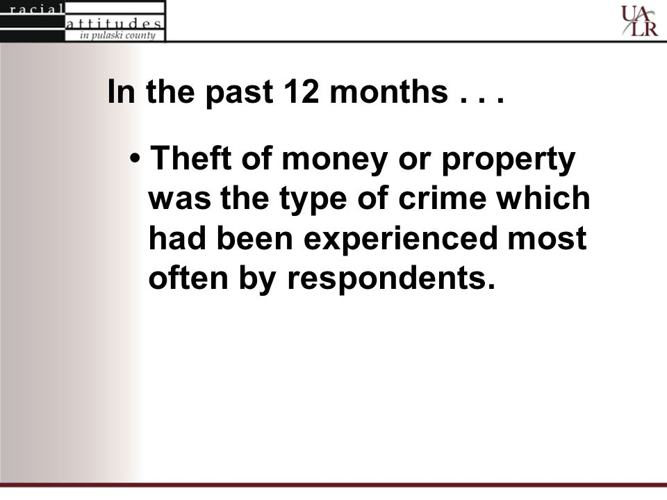 Theft of money or property was the type of crime which had been experienced most often by respondents.