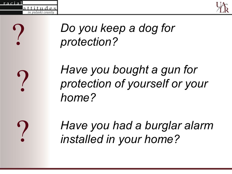 Do you keep a dog for protection. Have you bought a gun for protection of yourself or your home.