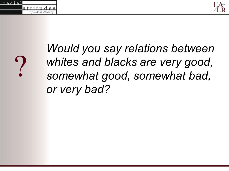 Would you say relations between whites and blacks are very good, somewhat good, somewhat bad, or very bad.