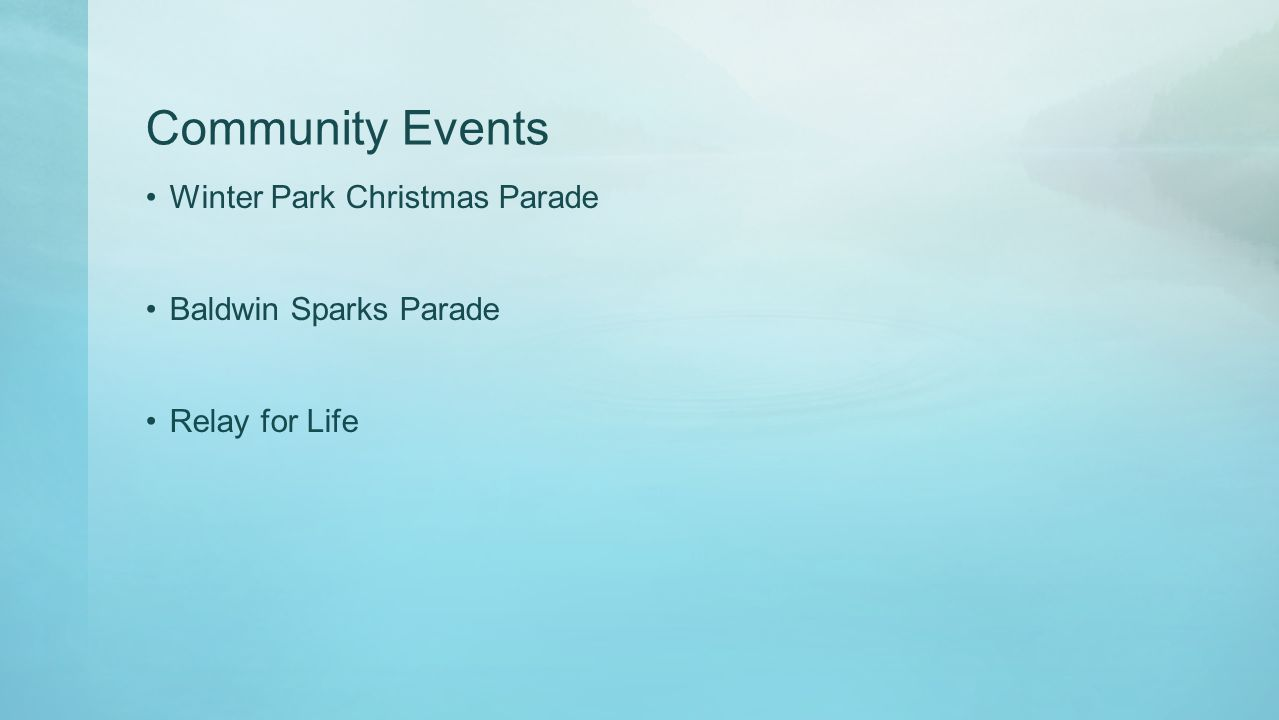 Community Events Winter Park Christmas Parade Baldwin Sparks Parade Relay for Life