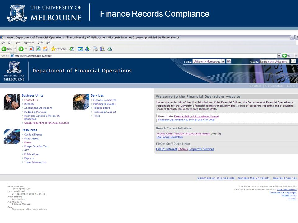 Finance Records Compliance