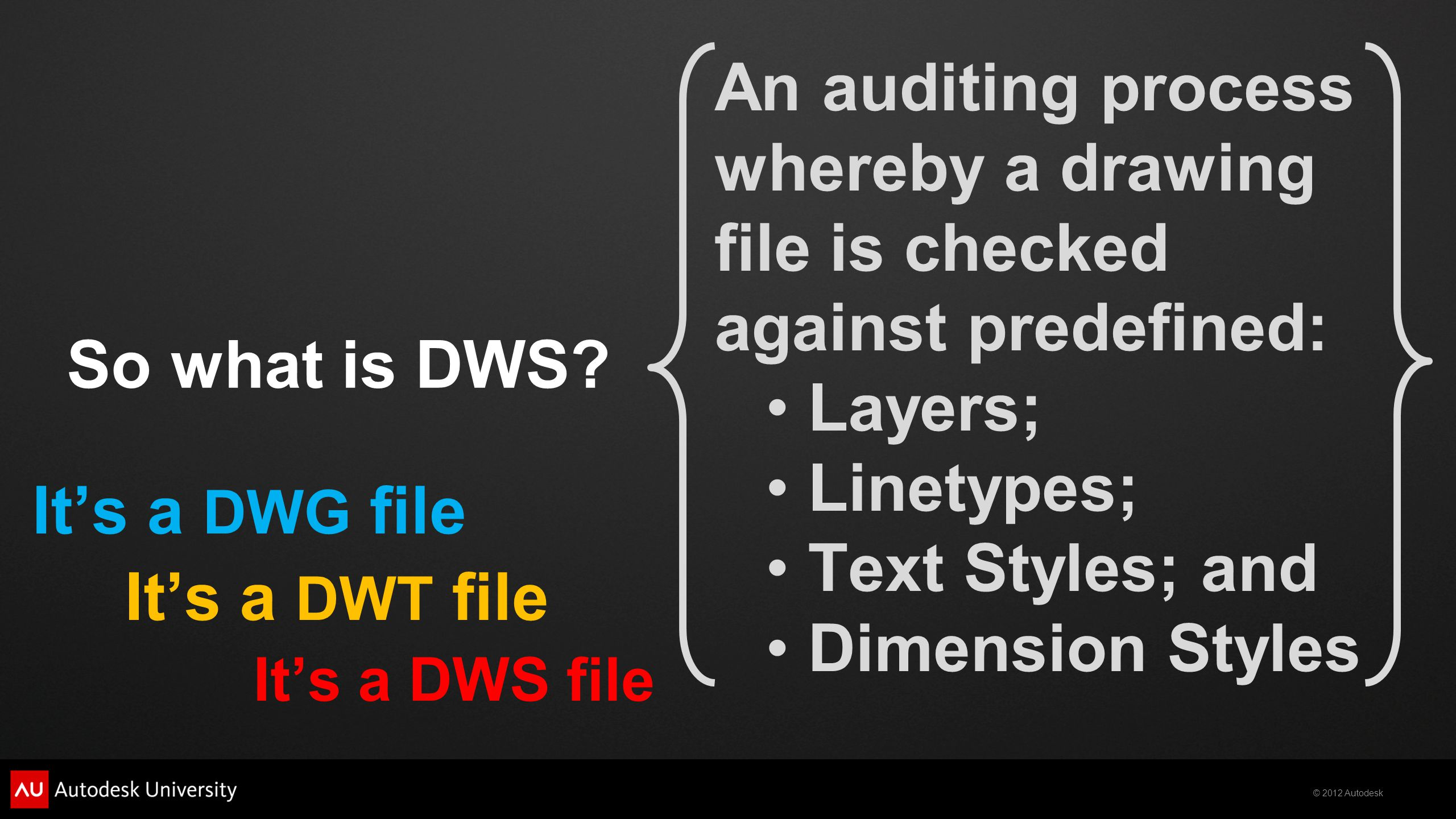 © 2012 Autodesk So what is DWS.