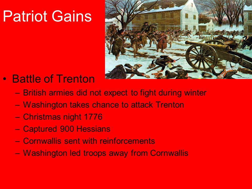 Patriot Gains Battle of Trenton –British armies did not expect to fight during winter –Washington takes chance to attack Trenton –Christmas night 1776 –Captured 900 Hessians –Cornwallis sent with reinforcements –Washington led troops away from Cornwallis