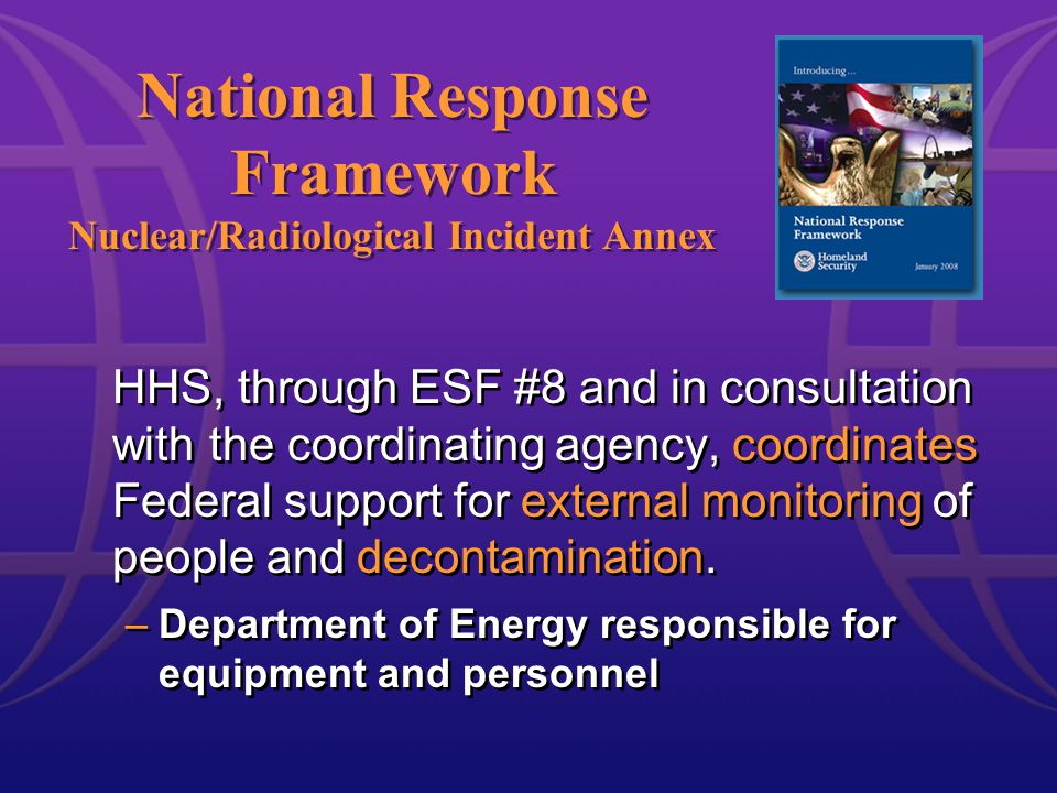 HHS, through ESF #8 and in consultation with the coordinating agency, coordinates Federal support for external monitoring of people and decontamination.