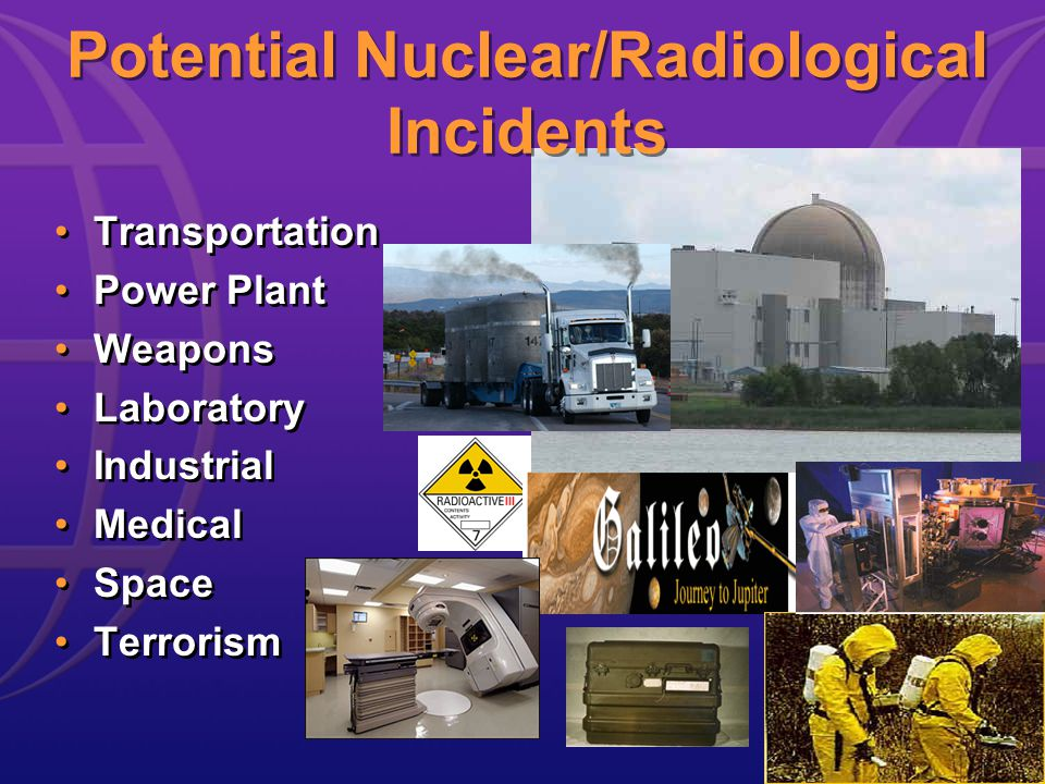 Potential Nuclear/Radiological Incidents Transportation Power Plant Weapons Laboratory Industrial Medical Space Terrorism Transportation Power Plant Weapons Laboratory Industrial Medical Space Terrorism