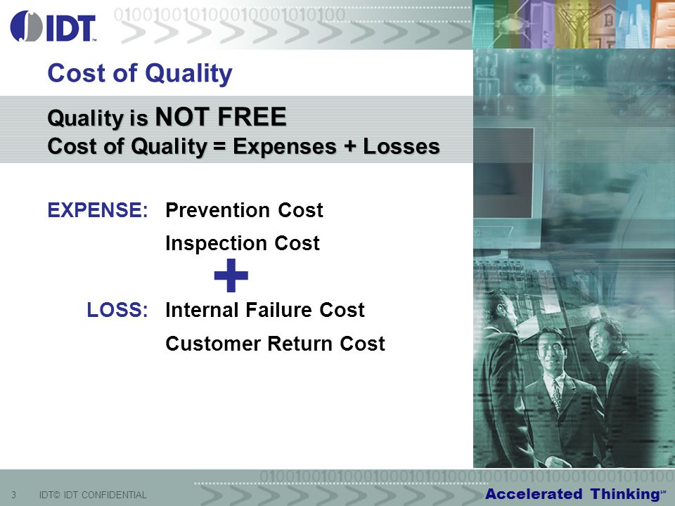 Accelerated Thinking SM 3IDT© IDT CONFIDENTIAL Cost of Quality EXPENSE:Prevention Cost Inspection Cost LOSS:Internal Failure Cost Customer Return Cost Quality is NOT FREE Cost of Quality = Expenses + Losses Quality is NOT FREE Cost of Quality = Expenses + Losses +