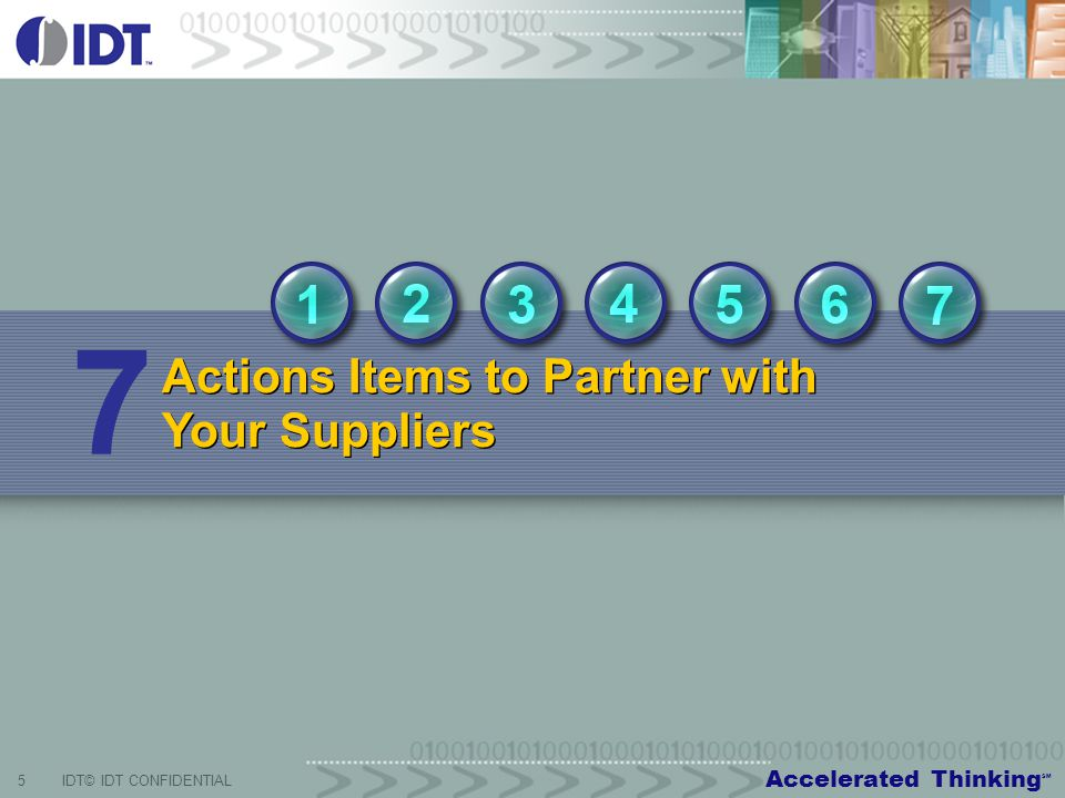 Accelerated Thinking SM 5IDT© IDT CONFIDENTIAL Actions Items to Partner with Your Suppliers 7