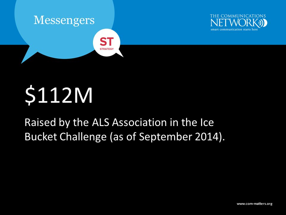 www.com-matters.org Messengers www.com-matters.org Messengers $112M Raised by the ALS Association in the Ice Bucket Challenge (as of September 2014).